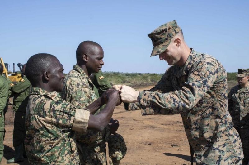 Military leaders Mark End of U.S. Marines Engagement in Uganda