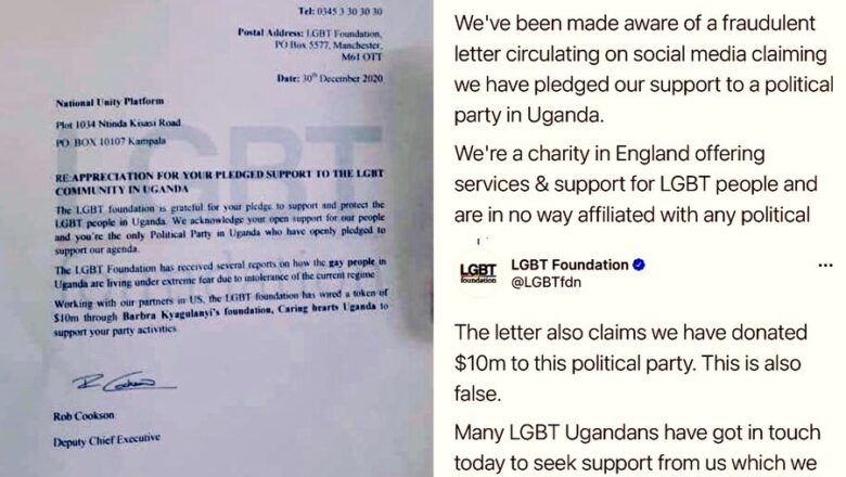 LGBT Foundation categorically denies donating $10 million to NUP