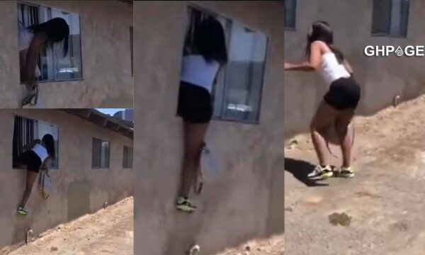 Valentine's Day drama: Slay Queen escapes through a window after being busted with a married man –
